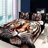 DIAIDI,Tiger Bedding Sets,Animal Print Comforter Set,3D Oil Painting Duvet Cover Set,4Pcs,Queen