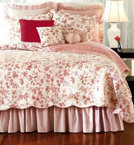 Best c amp f enterprises brighton red toile quilt set on sale country bedding sets for sale