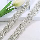 XINFANGXIU Rhinestone Wedding Applique 1 Yard, Crystal Bridal Belt Applique Beaded Dacorations Handcrafted Sparkle Elegant Thin Sewn or Hot Fix for Women Gown Evening Prom Dresses Sashes - Silver (Color: Silver-4, Tamaño: 36*1.1 inches)