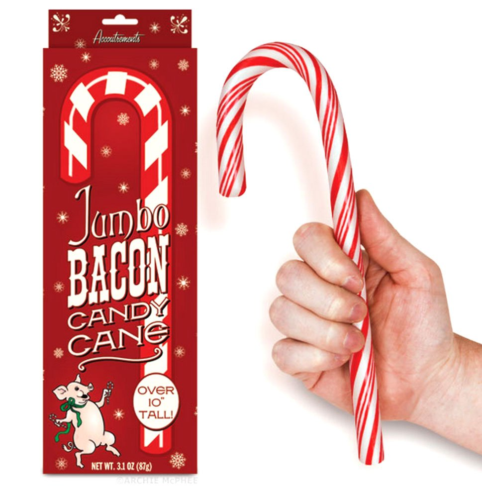The bacon candy cane is a cool but weird stocking stuffer. Remove from box, do not tell them it is bacon flavored. Wait for their reaction!