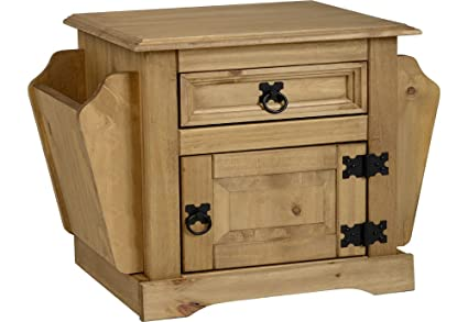 Corona 1 Drawer Magazine table- invecchiato e cerato