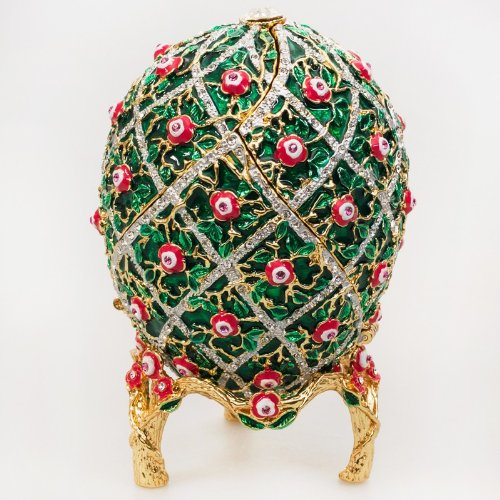 Swarovski Crystals Ornamental Rose Trellis Motifs Green Gold Plated Faberge Style Egg Box Figurine Limited Edition Collectible Faberge Reproduction