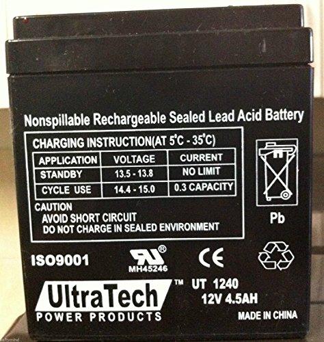 UltraTech UT-1240 12V, 4.5Ah Sealed Lead Acid Alarm Battery UT1240 ISO9001 (2 Pack)