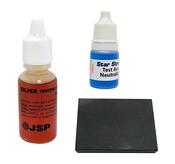 JSP Silver 925 Jewelry Test Solution Scratch Testing Stone and Neutralizer