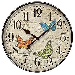 Westclox Vintage Butterfly Postcard 12 Wall Clock 32897BF