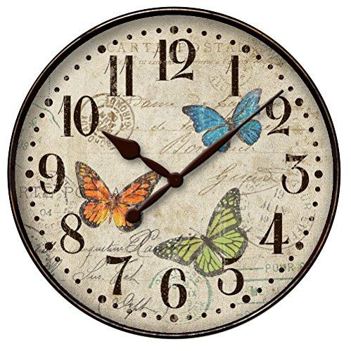 "Westclox Vintage Butterfly Postcard 12"" Wall Clock 32897BF"