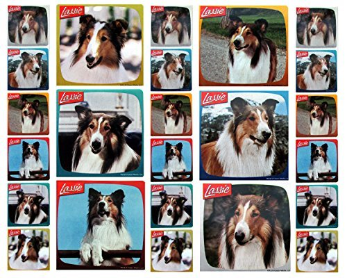"LASSIE STICKERS- Lassie Birthday Party Favor Sticker Set Consisting of 45 Stickers Featuring 6 Different Designs Measuring 2.5"" Per Sticker"