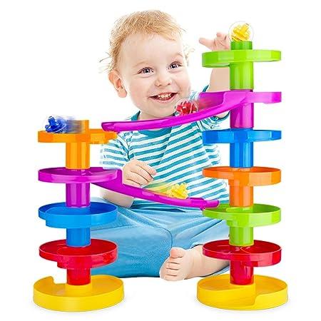 Circuit à Billes pour Bébé Ball Drop avec Rampe. Jeu Educatif en Famille pour les Tout Petits.