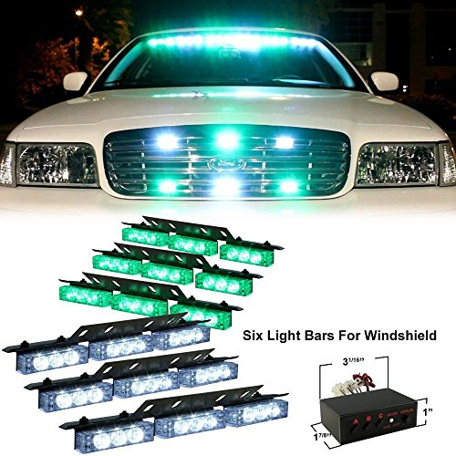 Ediors 54 Bright White Green Led Emergency Flash Warning Hazard Strobe Lights Bar For Windshield