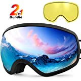 Zionor X10 Ski Snowboard Snow Goggles OTG for Men Women Youth Anti-Fog UV Protection Helmet Compatible (Color: A1-X10 Black Frame Silver Lens Plus Yellow Lens, Tamaño: One Size)