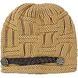 Women Knit Snow Hat Winter Snowboarding Beanie Crochet Cap (Khaki)