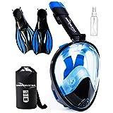 SNORKELSTAR Snorkel Mask Set (Mask S/M Fins M) (Color: Blue Black, Tamaño: Mask S/M Fins M (US 7-10))