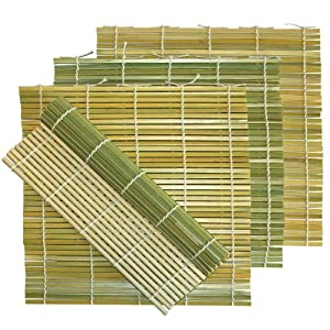 Pack of 4 Flat Green Bamboo Sushi Roll Mats - 9.5 x 9.5 - Comes with Custom Dough Scraper by MBW NW