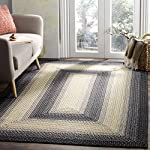 Safavieh Braided Collection BRD311A Hand Woven Black and Grey Square Area Rug (6 Square)