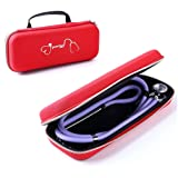 for 3M Littmann Classic III Stethoscope Carry Case, Protective Cover Bag fits 3M Littmann, MDF, ADC, Omron, etc. and Other Cardiology Nurse Accessories (Red pattern) (Color: Red pattern)