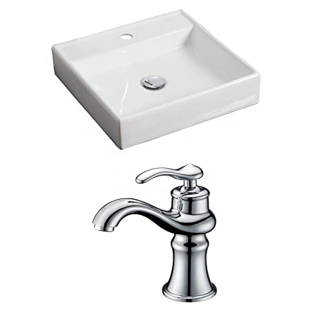 "American Imaginations AI-15057 Square Vessel Set with Single Hole CUPC Faucet, 17.5"" x 17.5"", White"