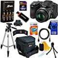 "Nikon COOLPIX L830 16 MP CMOS Digital Camera with 34x Zoom NIKKOR Lens, HD Video & Tiltable 3"" LCD - Black (Import) + 4 AA High Capacity Batteries with Quick Charger + 10pc Bundle 32GB Deluxe Accessory Kit w/ HeroFiber� Ultra Gentle Cleaning Cloth"