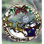 Large Santa in his sleigh glass sun catcher – 25cm Diameter