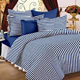 Story@Home Co-ordinated Cotton Double Bedsheet with 2 Pillow Covers - King Size, White and Blue (MG1095)