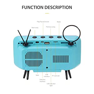 KOBWA Retro TV Bluetooth Speaker, Portable Bluetooth Speaker with Phone Stand Holder, AUX FM Bluetooth Optional, 3D Stereo Sound Quality, 32.8ft Wireless Range Bluetooth 4.2 - Creative Gift (Color: Blue)