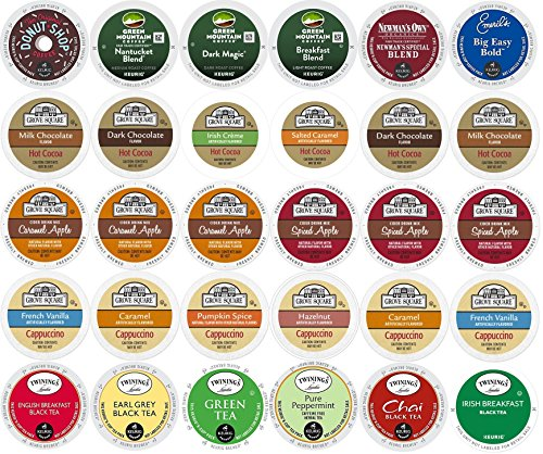 30-count-K-cup-Variety-Pack-for-Keurig-Brewers-including-Coffee-Cocoa-Tea-Cappuccino-Featuring-Green-Mountain-Coffee-People-Newmans-Organics-Emerils-Grove-Square-Twinings