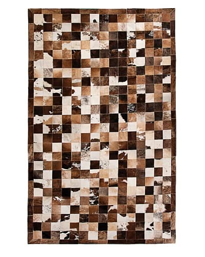 Natural Brand Barcelona Cowhide Patchwork Rug, Tri-Color, 5' x 8'