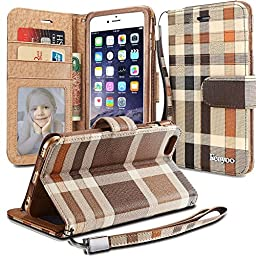 iPhone 6S Plus Case, iPhone 6 Plus Wallet Case, Feayoo - [Card Slot] [Flip] [Wallet] [Wristlet] [ID Window] - Premium Wallet Case with Strap for Apple iPhone 6 Plus and iPhone 6S Plus 5.5\