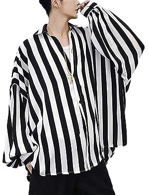 BeiBang(バイバン) メンズ 長袖シャツ ゆったり ストライプシャツ