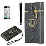 iPhone 5C case, iPhone 5c Wallet cover, ULAK Luxury Anchor Fashion PU Leather Zipper Wallet Wristlet Flip Case Cover For Apple iPhone 5C with Screen Protector and Stylus (Black)