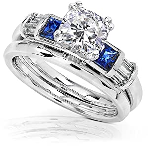 Cushion Moissanite Sapphire and Diamond Bridal Rings Set 1 1/2ct (ctw) in 14k White Gold_7.0 by Kobelli