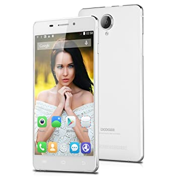 "Blanc 4G Smartphone DOOGEE IBIZA F2 IPS OGS QHD Ecran 5,0"" MTK6732 Quad Core Android 4.4 avec 1Go RAM+4Go ROM mémoire Dual SIM Dual caméra 8MP et 2MP support WIFI GPS Bluetooth OTA OTG 3 Finger Screenshot Smart Wake portable débl"