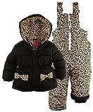 Pink Platinum Little Girls' Leopard Printed Two Piece Snowsuit Bib Pant Set