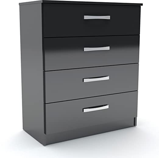 Lynx Modern 4 Drawer Chest in High Gloss Black Finish with Silver Handles