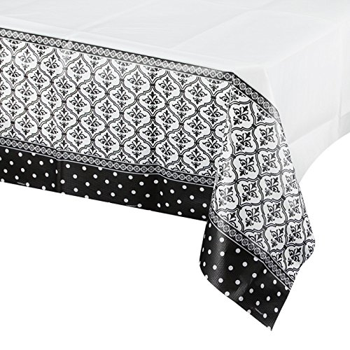 "Amscan Damask & Polka Dots Party Paper Table Cover, 54 x 102"", Black/White"