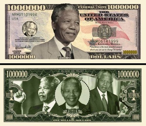 Set of 10-Nelson Mandela Million Dollar Novelty Bills