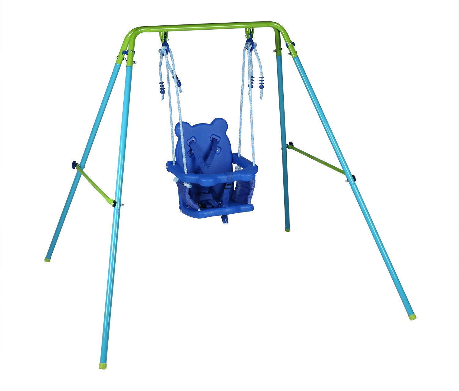 Blue Folding Swing Outdoor Indoor Swing Toddler Swing With Safety Baby Seat  For Baby/chirldrenu0027s