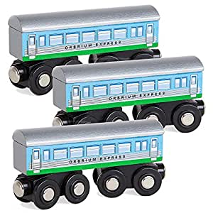 Buy Orbrium Toys 3 Pcs Large Wooden Railway Express Coach