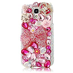 Samsung galaxy S4 Case - EVTECH(TM) Fashion Luxury 3D Handmade Bling Crystal Sparkle Glitter Diamond Rhinestone Design PC Protective Skin Case Hard Cover for Samsung Galaxy S4 9500 9505 M919