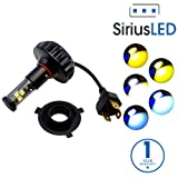SiriusLED Super Bright 2000 Lumens LED Bulbs Conversion Kit for Motorcycle ATV Powersport Headlights H4 9003 HB2 6000K Xenon White with Color Options