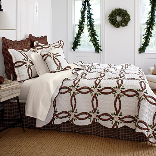 Brylanehome Holly Christmas Quilt Set (Ecru Red,Full/Queen)