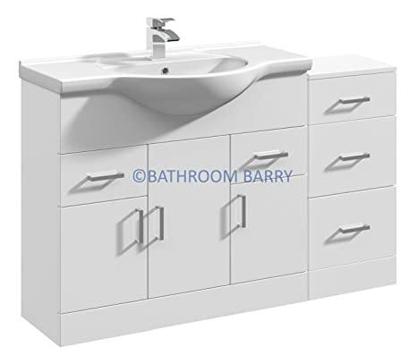 1200mm Modular High Gloss White Bathroom Combination Vanity Basin Sink Cabinet & Three Drawer Cupboard