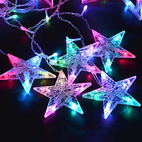 Ledertek 12 Stars Multi-Color Led Curtain Fairy String Lights Window Curtain Icicle Lighting Five-Pointed Star Styled, With Tail Plug, Used For Christmas, Parties, Wedding, Festival Decorations (12 Stars Multi-Color)