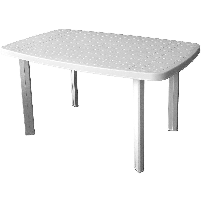 Gartentisch 138x87x72cm Kunststoff Weiss Beistelltisch Campingtisch