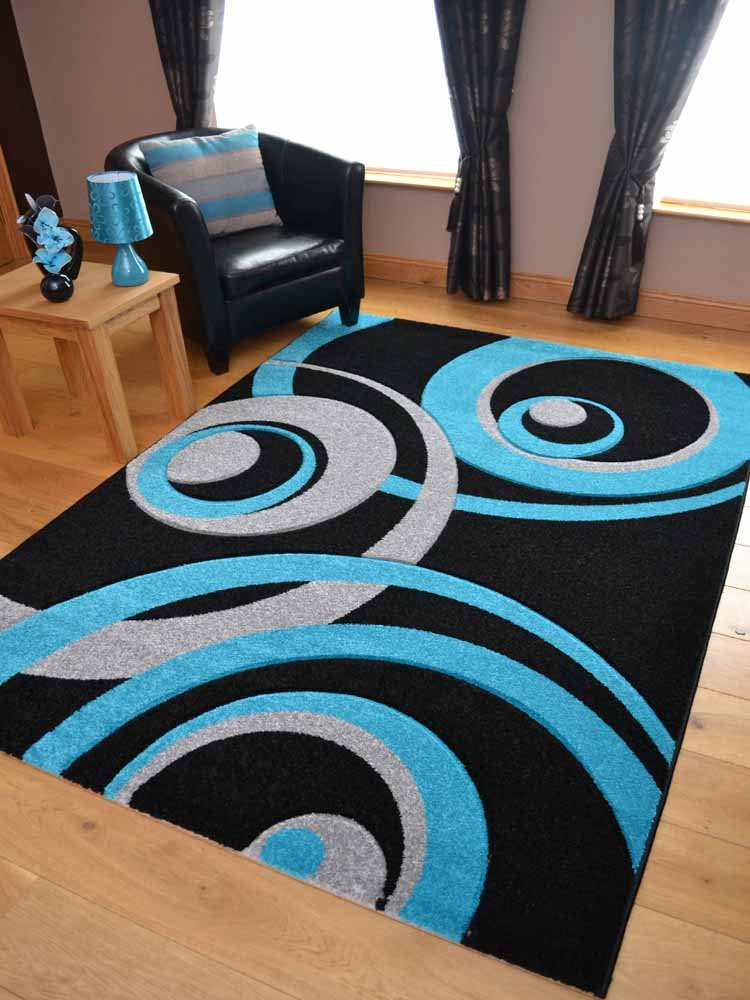 Vibe Modern Black Teal And Silver Circle Design Quality Hand Carved Rugs. Available in 3 Sizes (160cm x 220cm)       review and more description