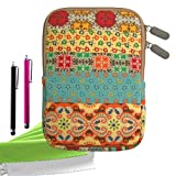ColorYourLife Bundle of Bohemian Style Canvas Fabric Sleeve Case Bag Cover for Kindle / Kindle Touch / Kindle Paperwhite with 2 Stylus Pens and Microfiber Cleaning Cloths (Colorful Bohemian pattern, 6 inch)