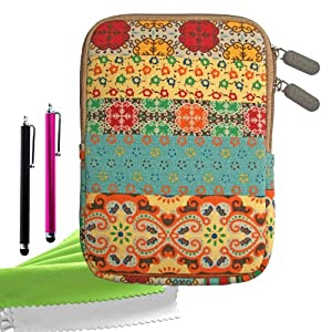 ColorYourLife Bundle of Bohemian Style Canvas Fabric Sleeve Case Bag Cover for Kindle Touch / Kindle Paperwhite / Kindle / Kindle Keyboard 3G with 2 Stylus Pens and Microfiber Cleaning Cloths (Colorful Bohemian pattern, 6 inch)