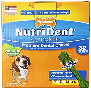 Nutri Dent Complete Medium Dental Chews for Adult Dogs, Chicken Flavor 32-Pack (2Pack)