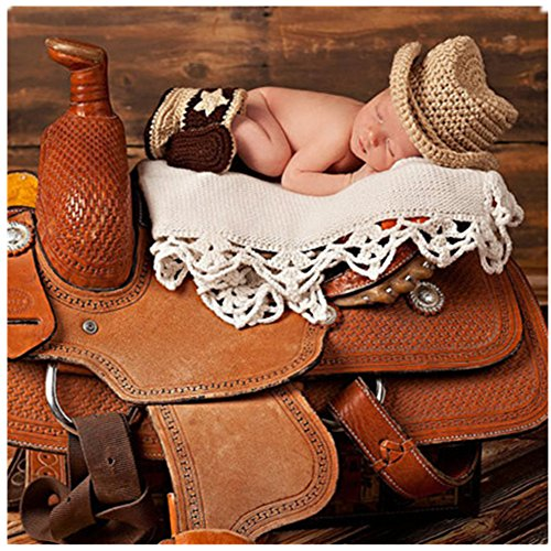 Fasion Cute Newborn Baby Boy Girl Costume Outfits Photography Props Cowboy Hat Boots