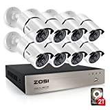 ZOSI Security Cameras System 8CH 1080P HD-TVI CCTV DVR Recorder 2TB HDD with 8 Weatherproof 1920TVL 2.0MP 1080P 100ft Night Vision Surveillance Cameras White (Aluminum Metal Housing) (Color: 8CH+8 Bullet Camera+2TB, Tamaño: 8CH+8 Bullet Camera+2TB)