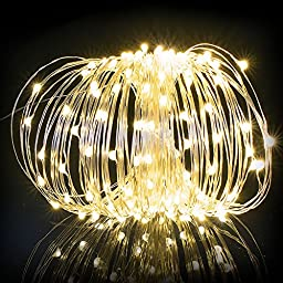 Dolucky Solar String Lights, 150 LED Outdoor Starry String Lights, Copper Wire Lights Ambiance Lighting for Outdoor, Party, Garden, Home, Dancing, Christmas Party[WarmWhite]